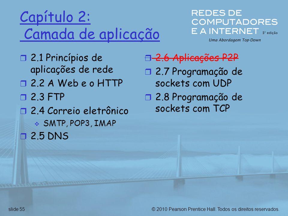 Capítulo 2: Camada de aplicação 2.1 Princípios de aplicações de rede