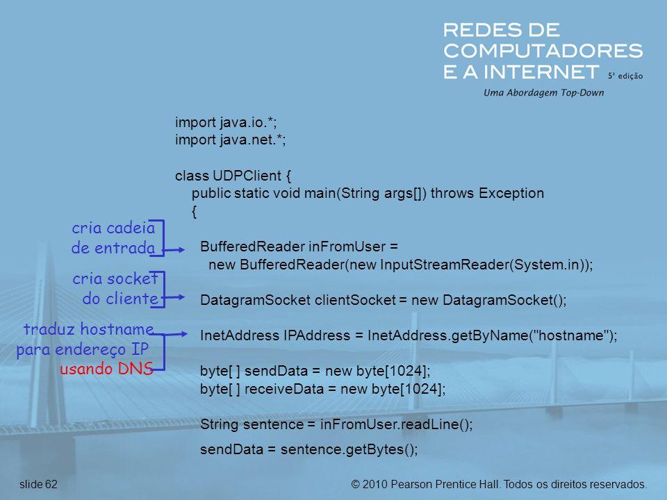 cria cadeia de entrada cria socket do cliente traduz hostname