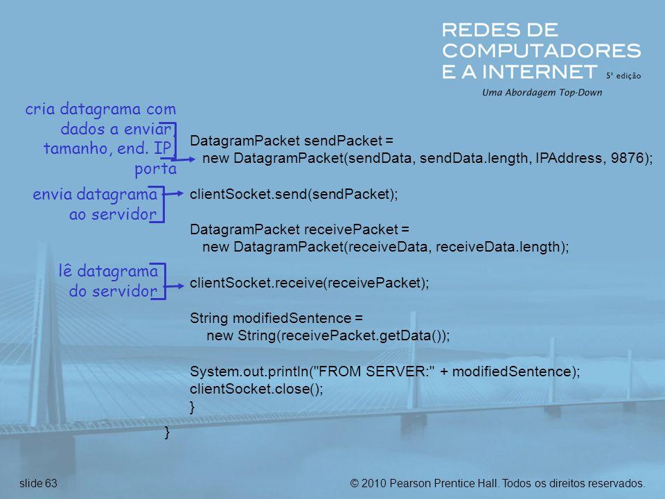 cria datagrama com dados a enviar, tamanho, end. IP, porta