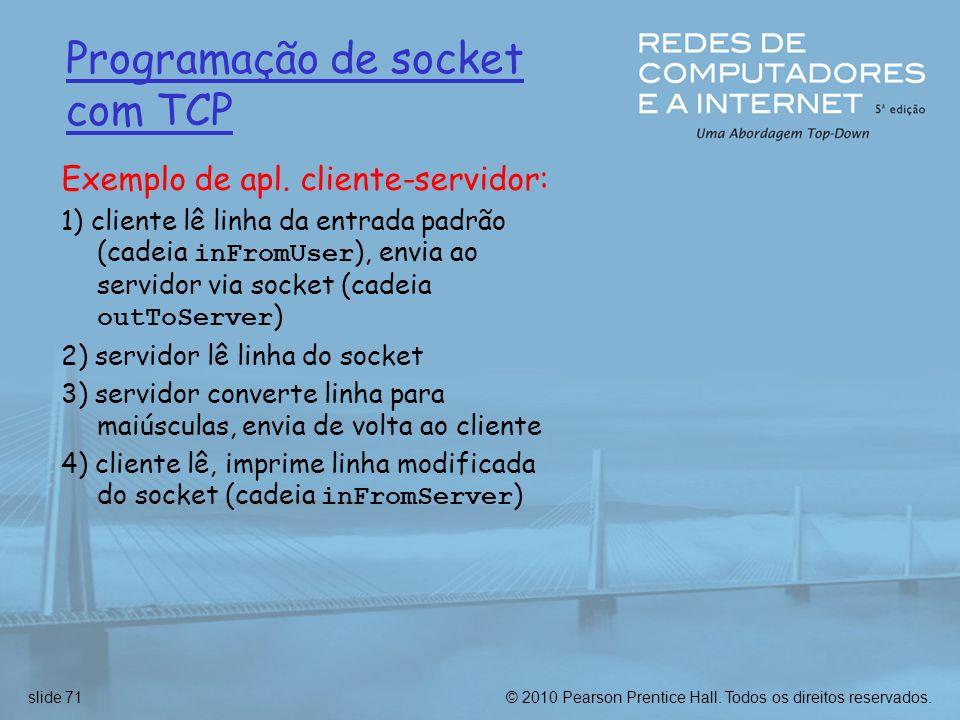 Programação de socket com TCP Exemplo de apl. cliente-servidor: