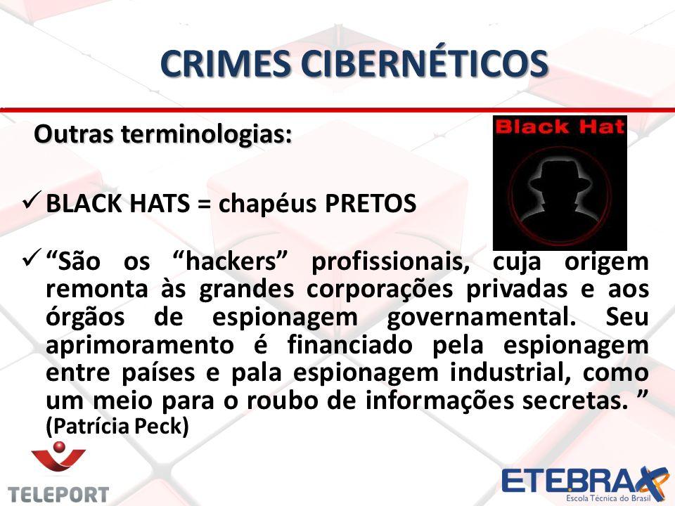 Crimes Cibernéticos Outras terminologias: BLACK HATS = chapéus PRETOS