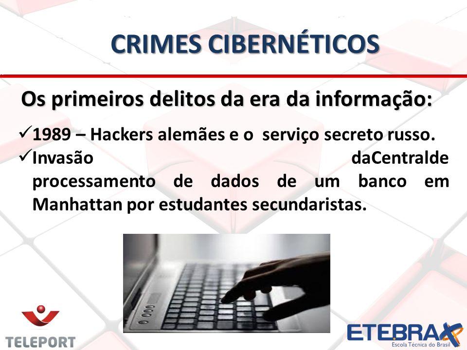 Crimes Cibernéticos Os primeiros delitos da era da informação: