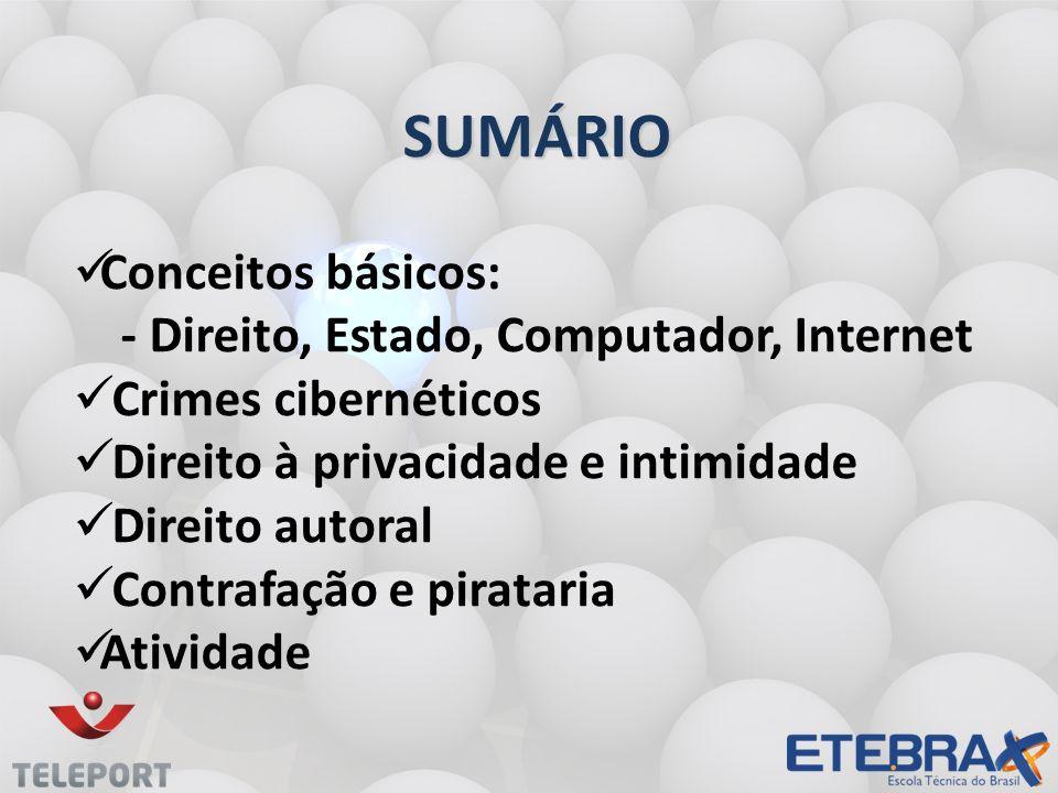 SUMÁRIO Conceitos básicos: - Direito, Estado, Computador, Internet