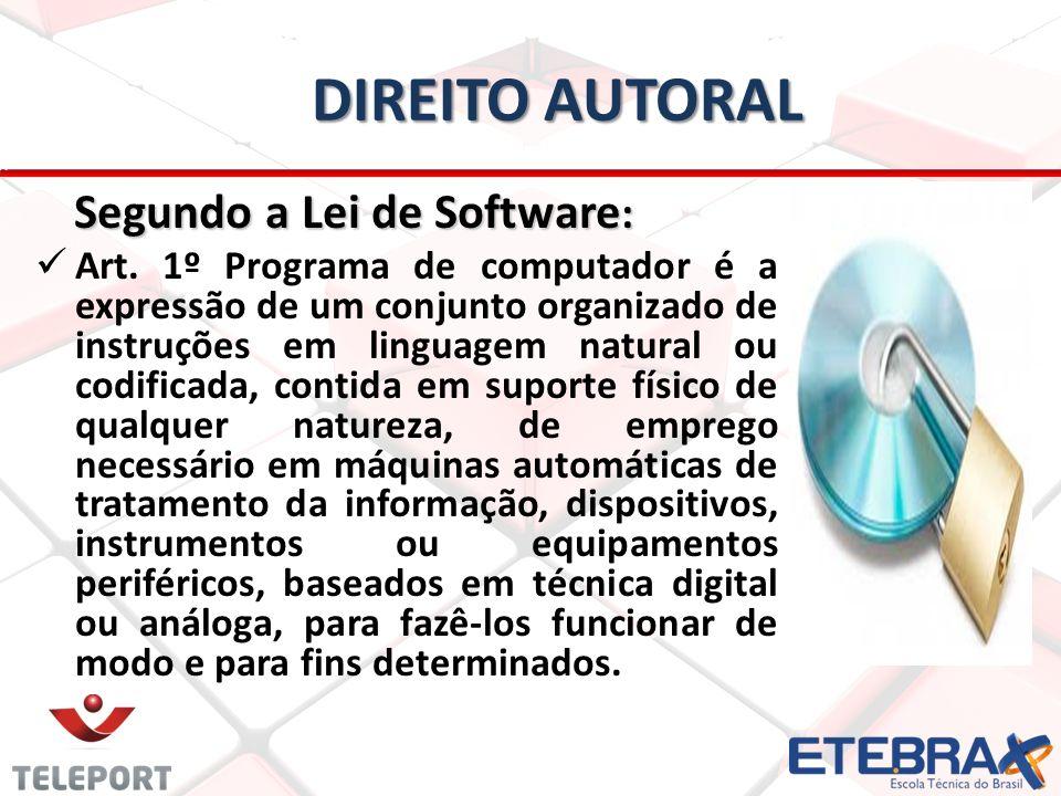 Direito autoral Segundo a Lei de Software: