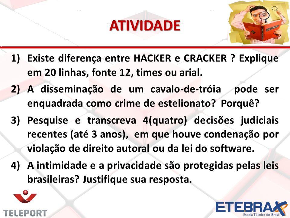 ATIVIDADE Existe diferença entre HACKER e CRACKER Explique em 20 linhas, fonte 12, times ou arial.