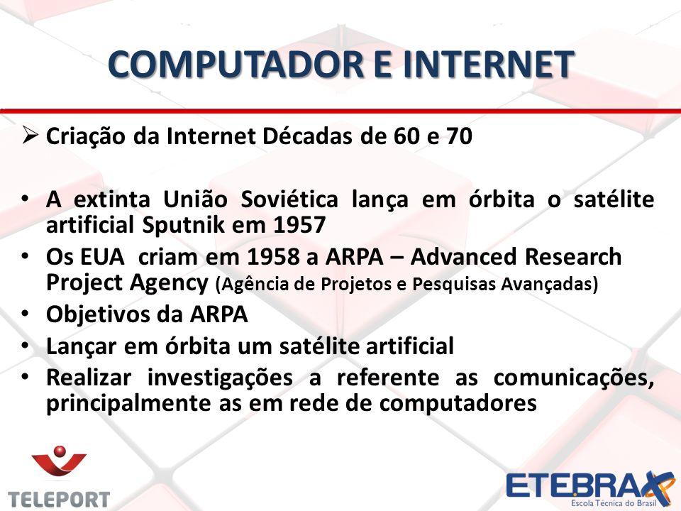 computador e internet Criação da Internet Décadas de 60 e 70