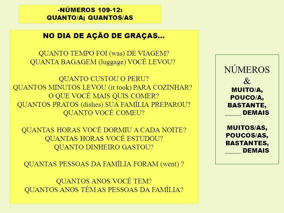 NÚMEROS & NO DIA DE AÇÃO DE GRAÇAS...