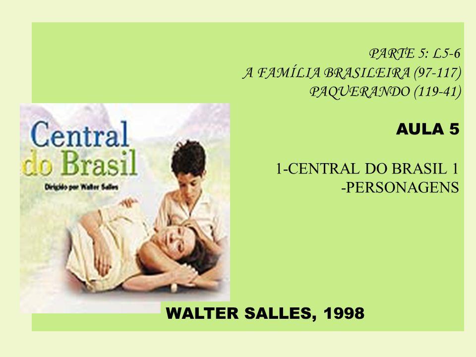 PARTE 5: L5-6 A FAMÍLIA BRASILEIRA (97-117) PAQUERANDO (119-41) AULA 5. 1-CENTRAL DO BRASIL 1. -PERSONAGENS.