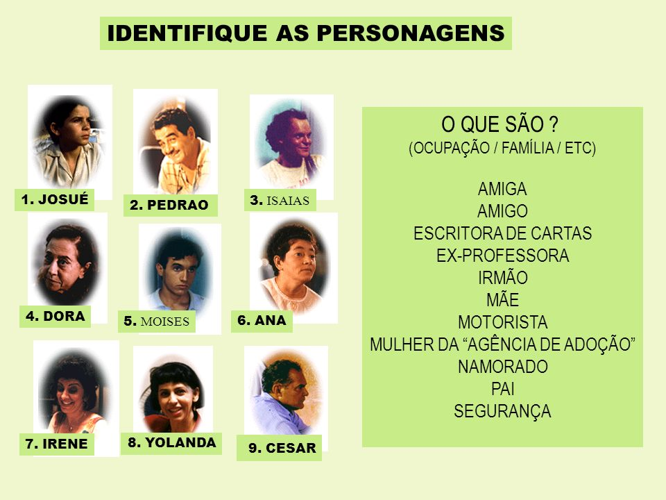 IDENTIFIQUE AS PERSONAGENS