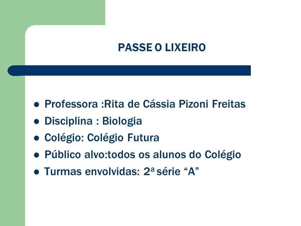 PASSE O LIXEIRO Professora :Rita de Cássia Pizoni Freitas. Disciplina : Biologia. Colégio: Colégio Futura.