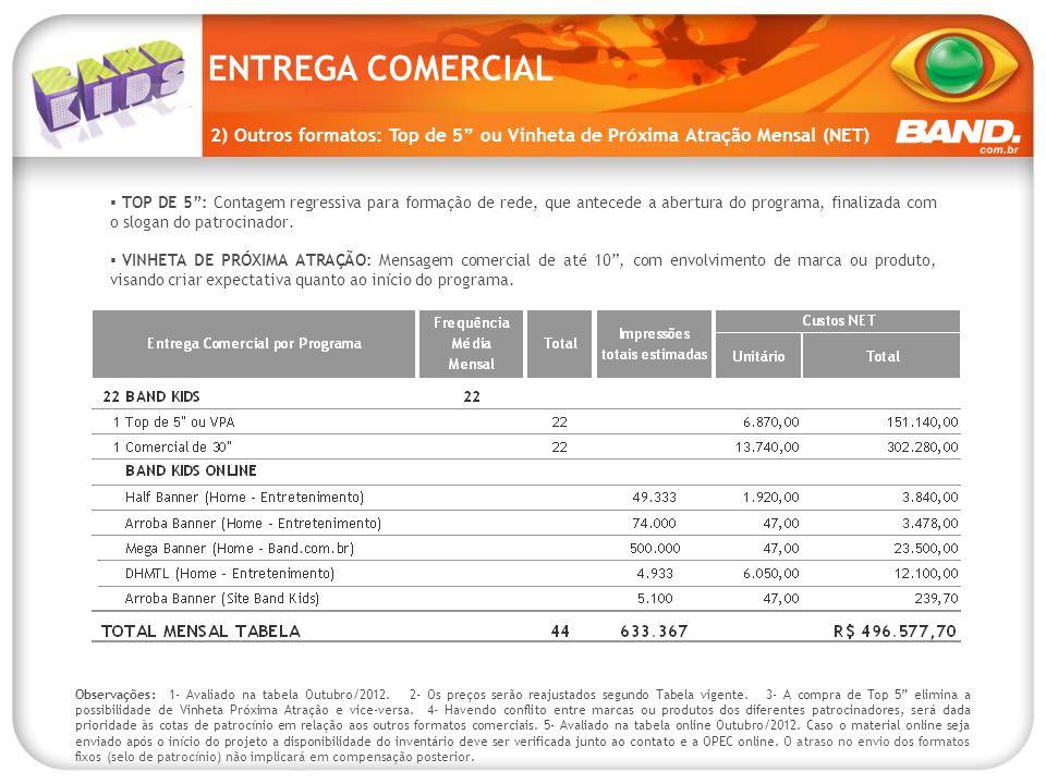 ENTREGA COMERCIAL 2) Outros formatos: Top de 5 ou Vinheta de Próxima Atração Mensal (NET)