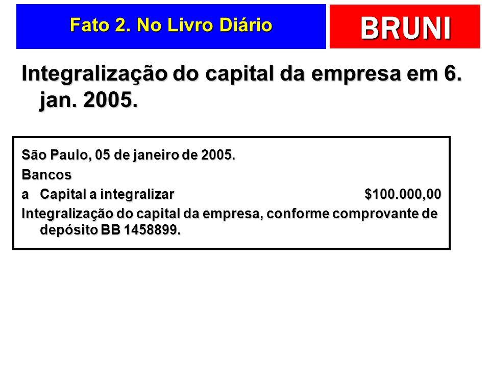 Integralização do capital da empresa em 6. jan. 2005.