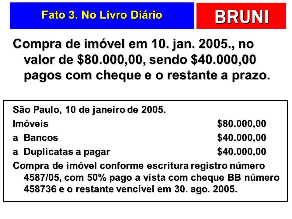 Fato 3. No Livro Diário Compra de imóvel em 10. jan. 2005., no valor de $80.000,00, sendo $40.000,00 pagos com cheque e o restante a prazo.
