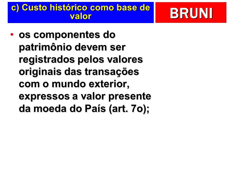 c) Custo histórico como base de valor