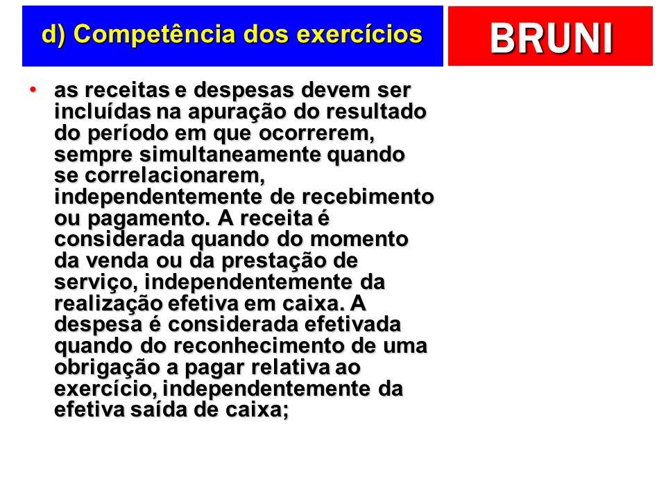d) Competência dos exercícios