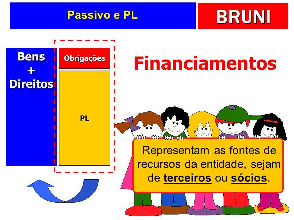 Financiamentos Passivo e PL Bens + Direitos Representam as fontes de