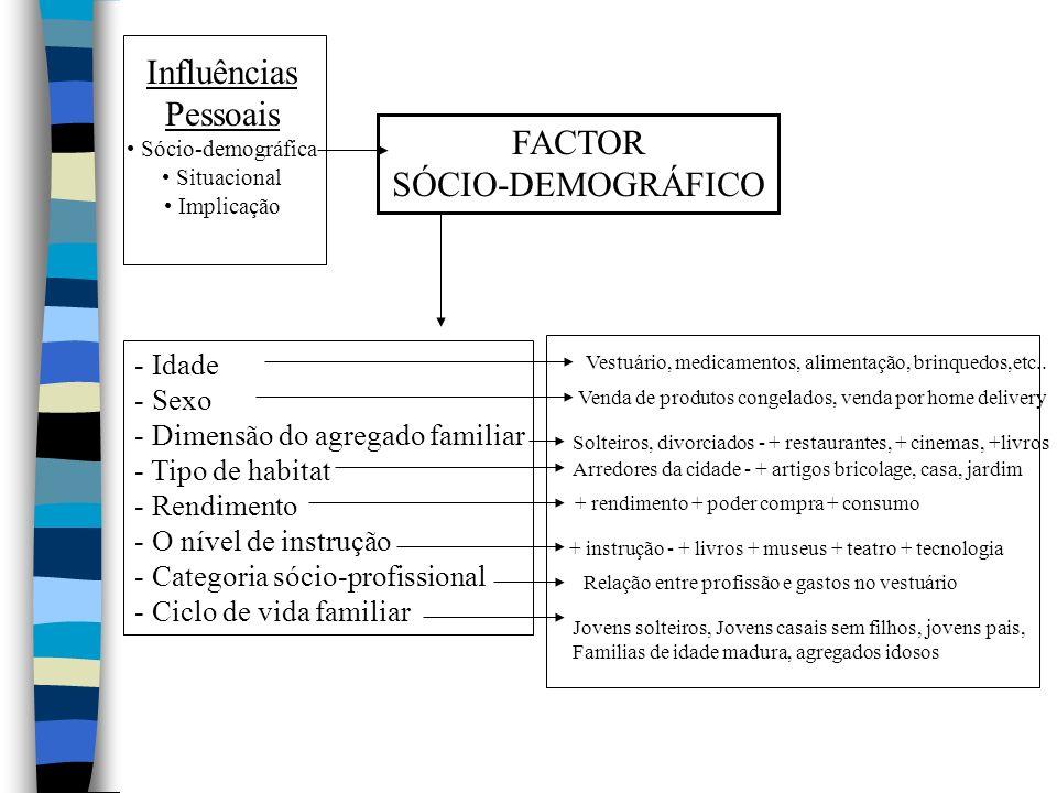 Influências Pessoais FACTOR SÓCIO-DEMOGRÁFICO Idade Sexo