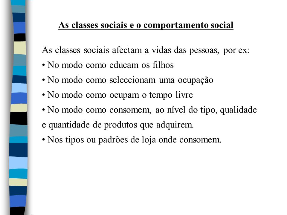 As classes sociais e o comportamento social