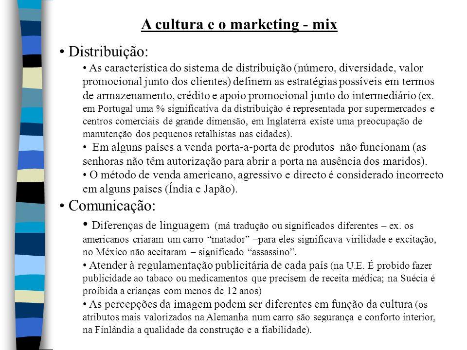 A cultura e o marketing - mix
