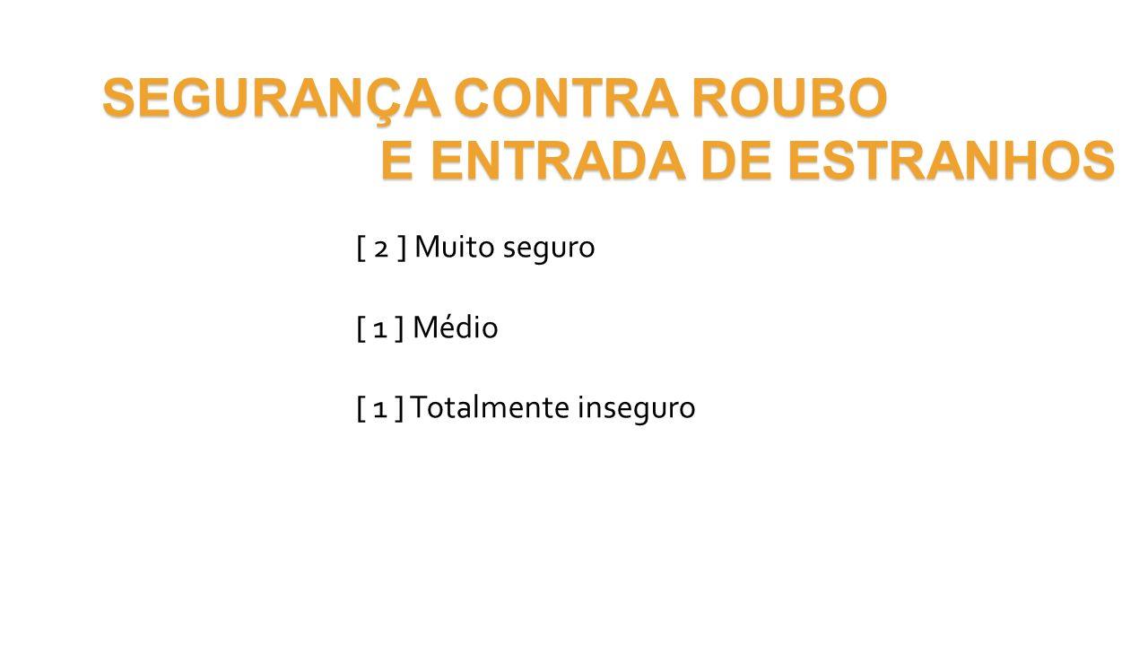 SEGURANÇA CONTRA ROUBO E ENTRADA DE ESTRANHOS