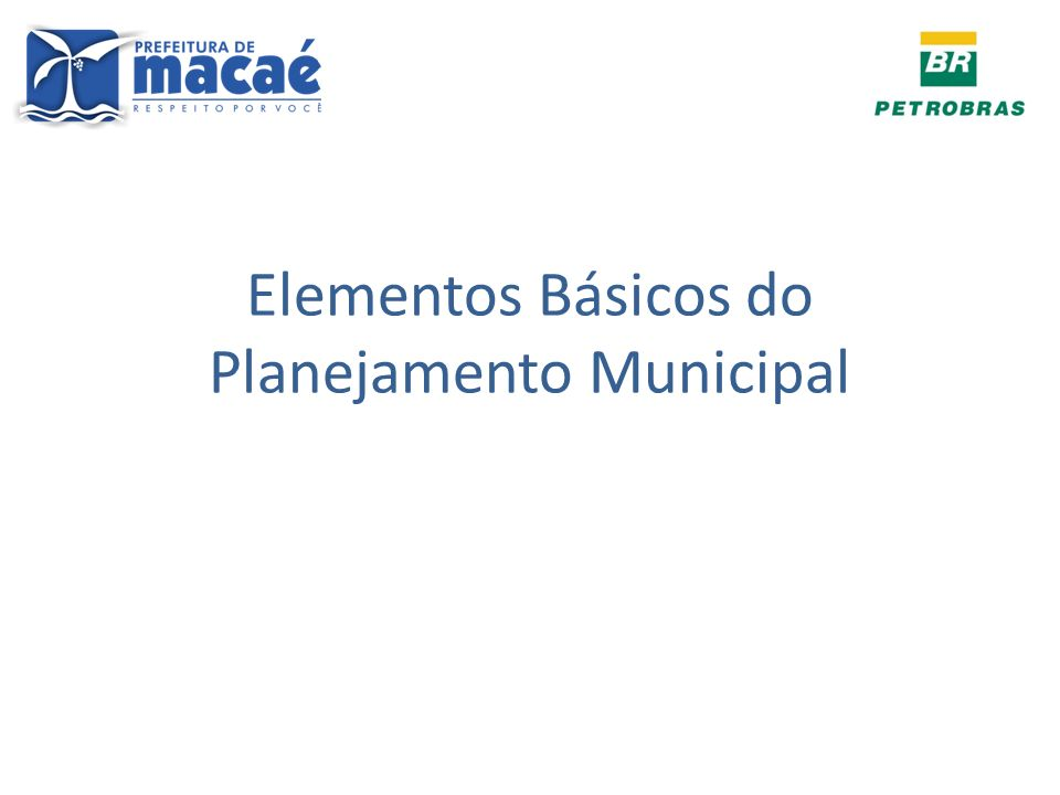 Elementos Básicos do Planejamento Municipal