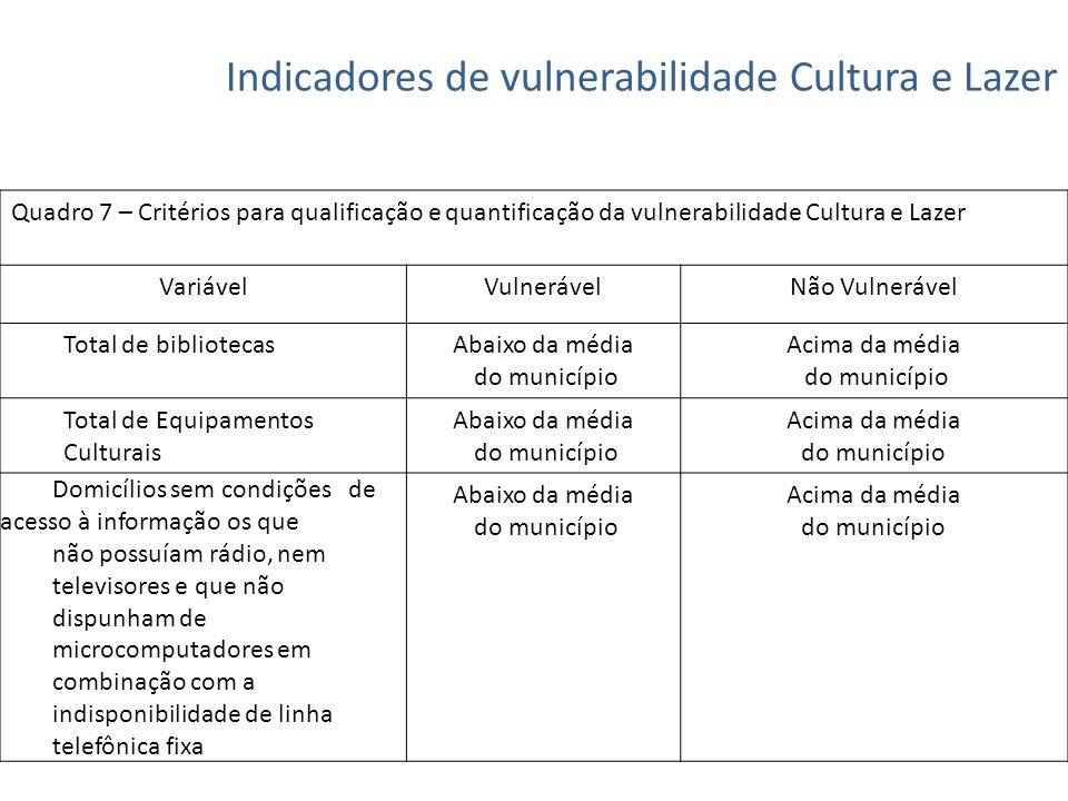 Indicadores de vulnerabilidade Cultura e Lazer