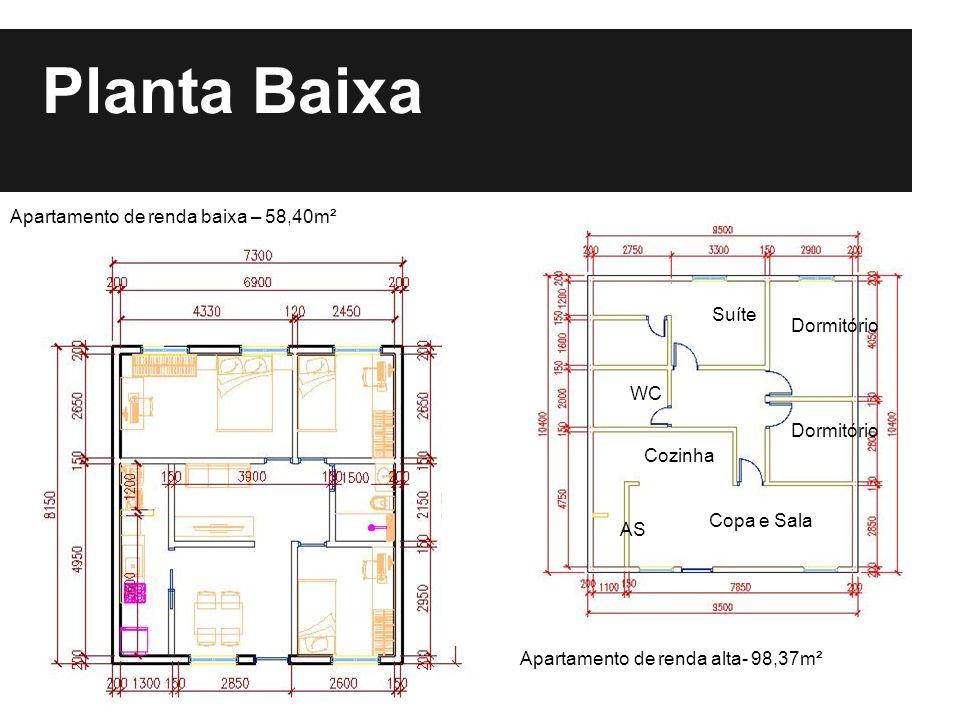 Planta Baixa Apartamento de renda baixa – 58,40m² Suíte Dormitório WC