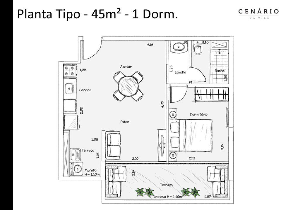 Planta Tipo - 45m² - 1 Dorm.