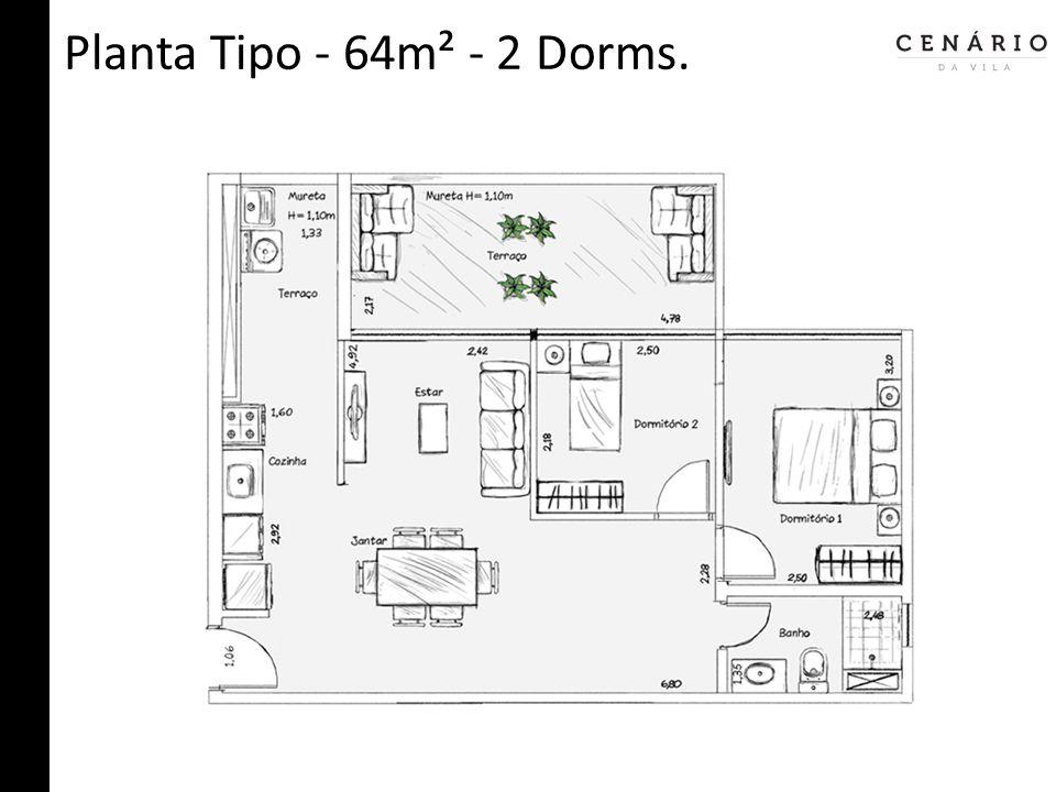 Planta Tipo - 64m² - 2 Dorms.