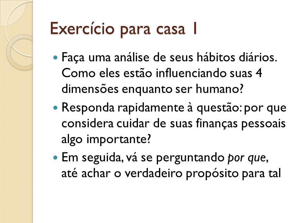 Exercício para casa 1 Faça uma análise de seus hábitos diários. Como eles estão influenciando suas 4 dimensões enquanto ser humano