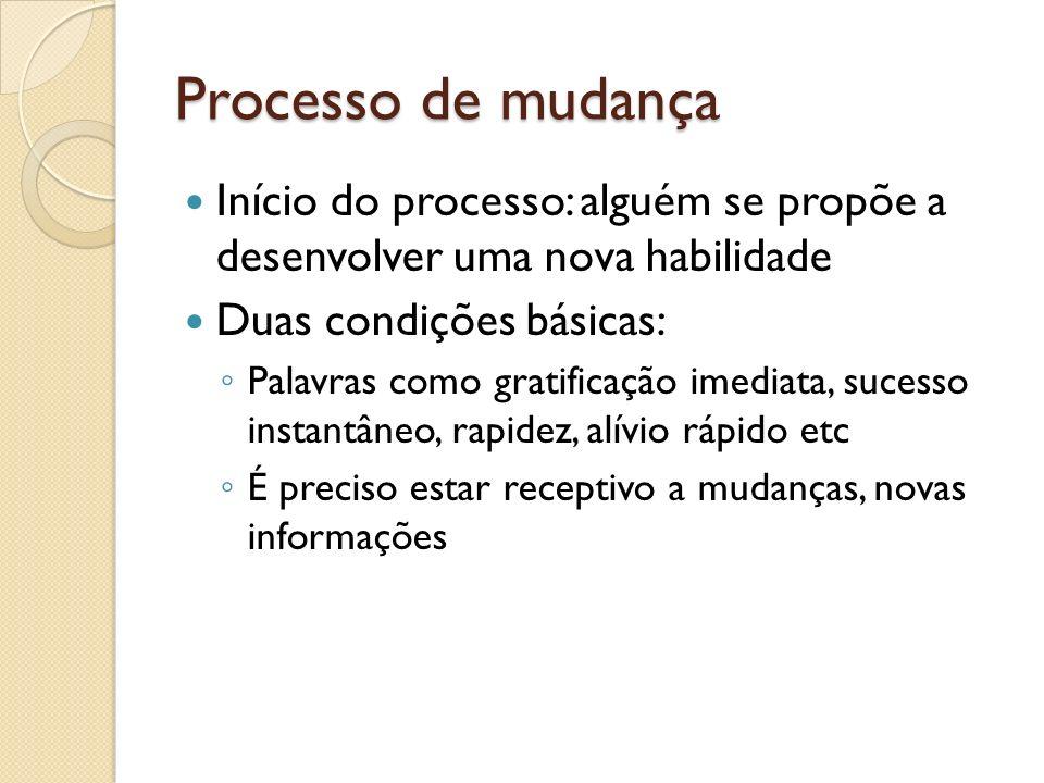 Processo de mudança Início do processo: alguém se propõe a desenvolver uma nova habilidade. Duas condições básicas: