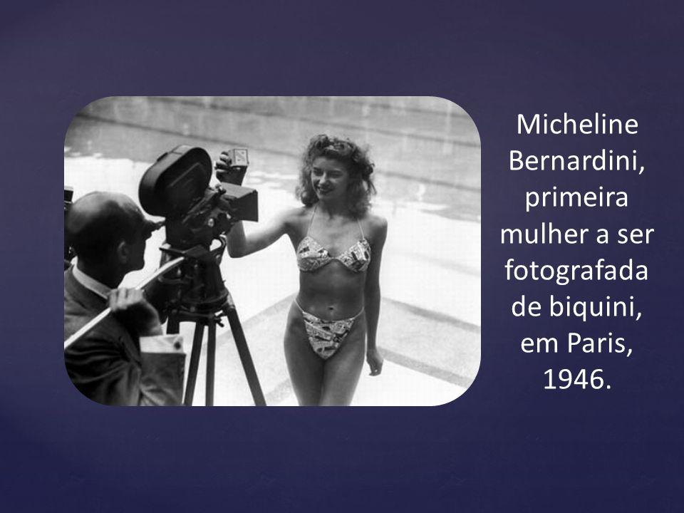 primeira mulher a ser fotografada de biquini, em Paris, 1946.