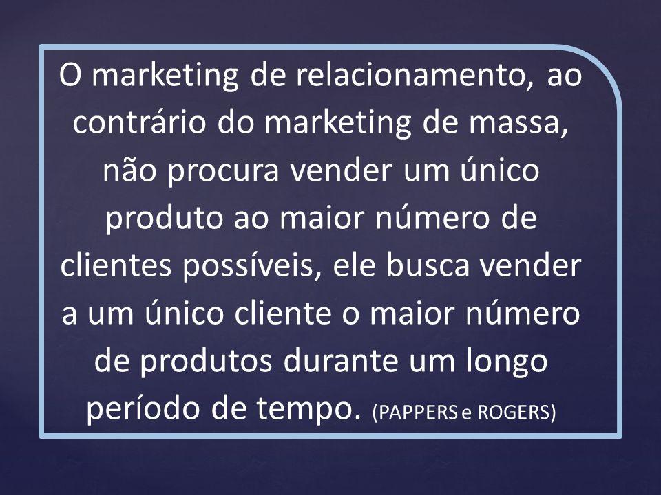 O marketing de relacionamento, ao contrário do marketing de massa, não procura vender um único produto ao maior número de clientes possíveis, ele busca vender a um único cliente o maior número de produtos durante um longo período de tempo.