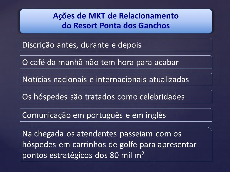 Ações de MKT de Relacionamento do Resort Ponta dos Ganchos