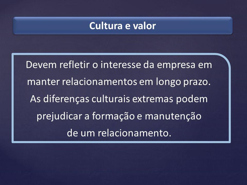 Cultura e valor Devem refletir o interesse da empresa em manter relacionamentos em longo prazo.