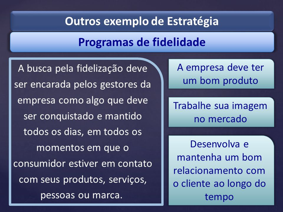 Outros exemplo de Estratégia Programas de fidelidade