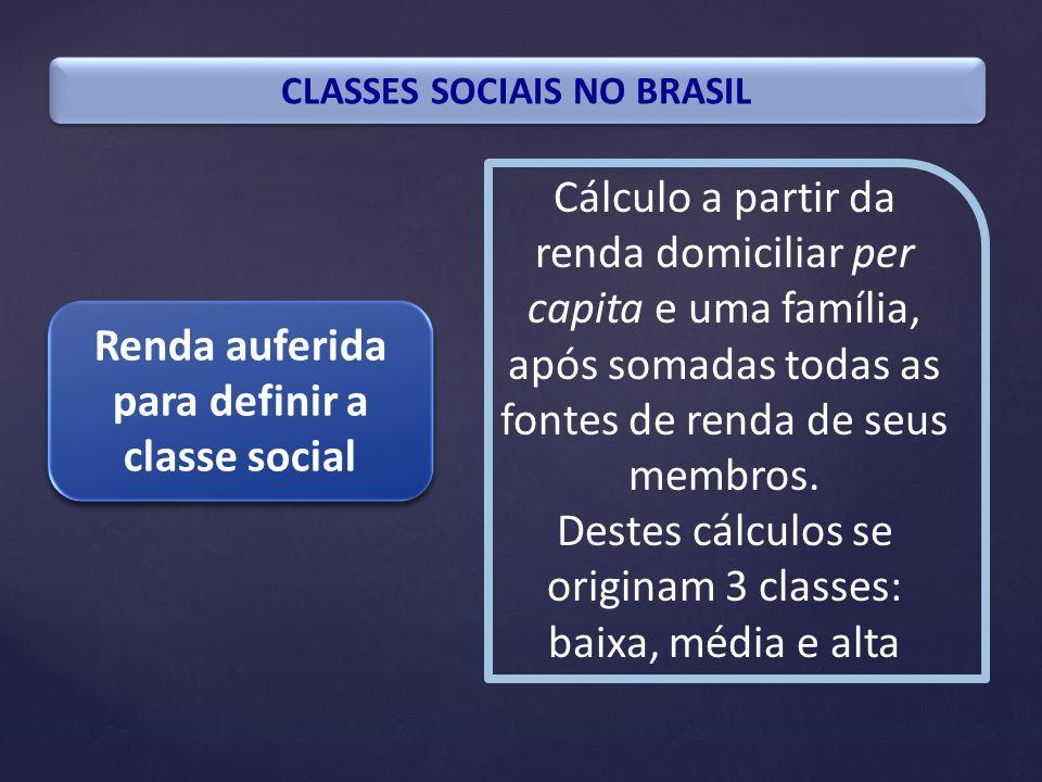 CLASSES SOCIAIS NO BRASIL Renda auferida para definir a classe social