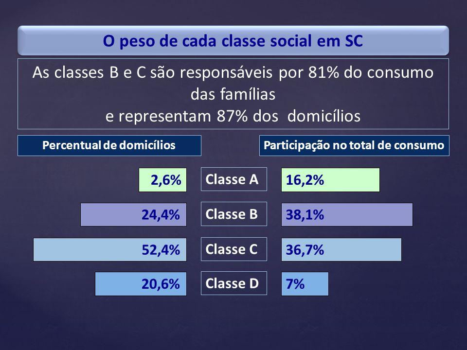 O peso de cada classe social em SC
