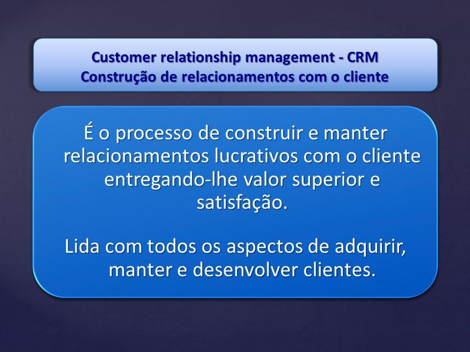 Customer relationship management - CRM Construção de relacionamentos com o cliente