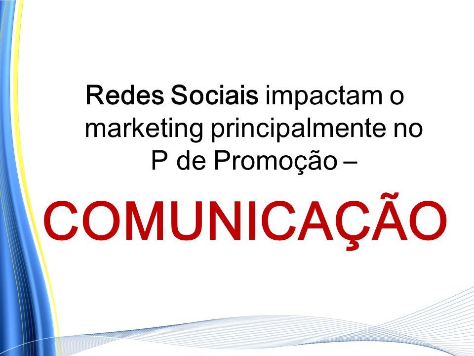 Redes Sociais impactam o marketing principalmente no P de Promoção –