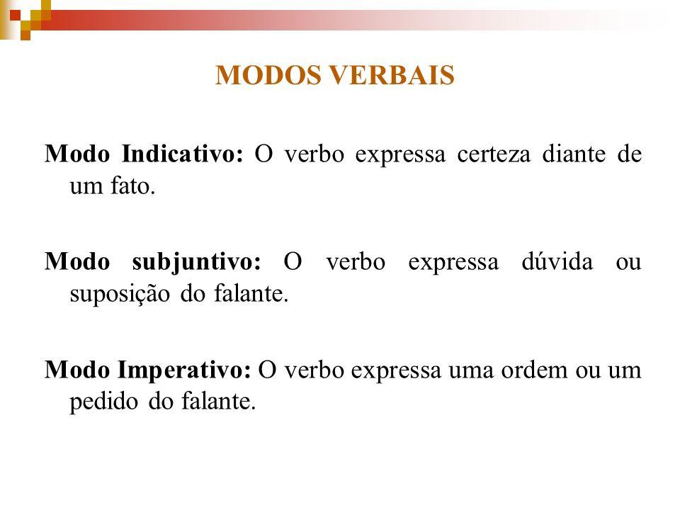 MODOS VERBAIS Modo Indicativo: O verbo expressa certeza diante de um fato. Modo subjuntivo: O verbo expressa dúvida ou suposição do falante.