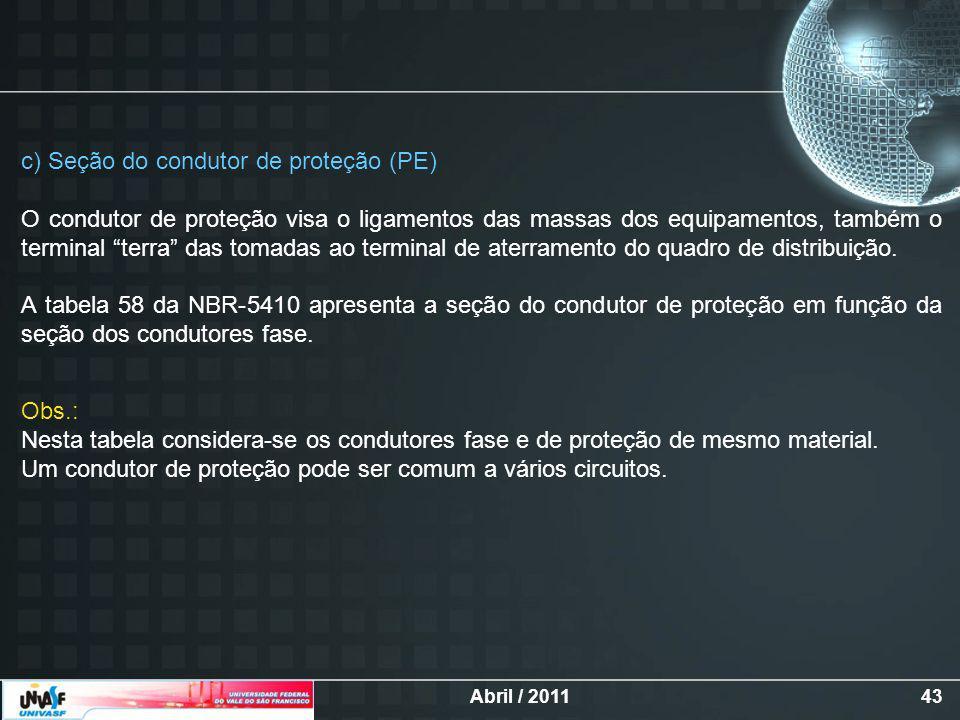 c) Seção do condutor de proteção (PE)