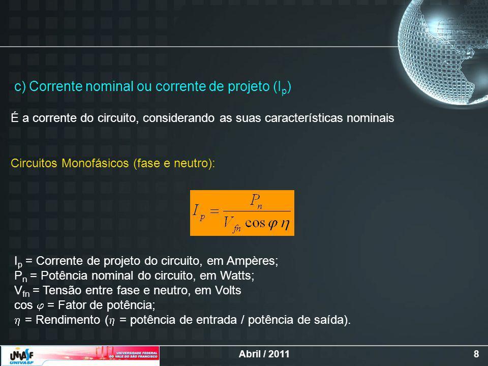 c) Corrente nominal ou corrente de projeto (Ip)