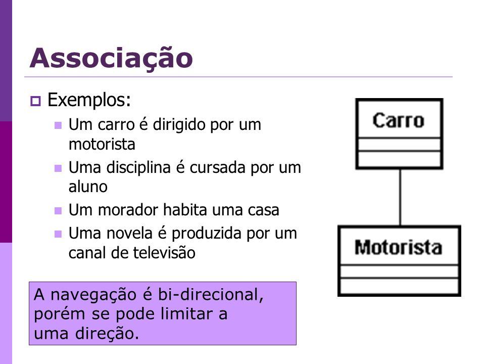 Associação Exemplos: Um carro é dirigido por um motorista