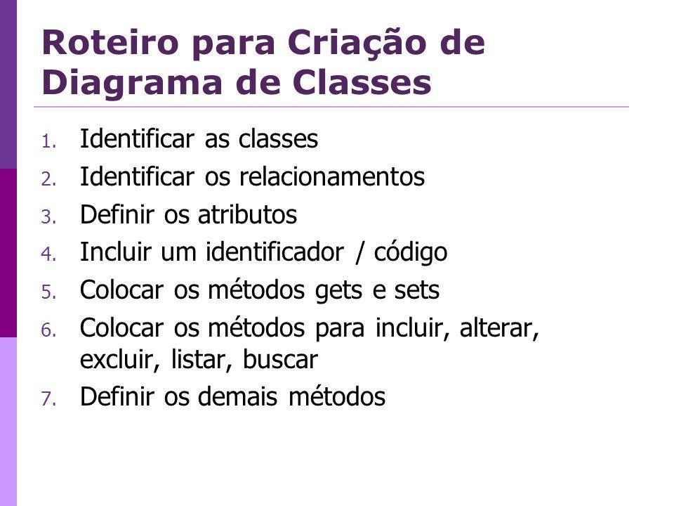 Roteiro para Criação de Diagrama de Classes