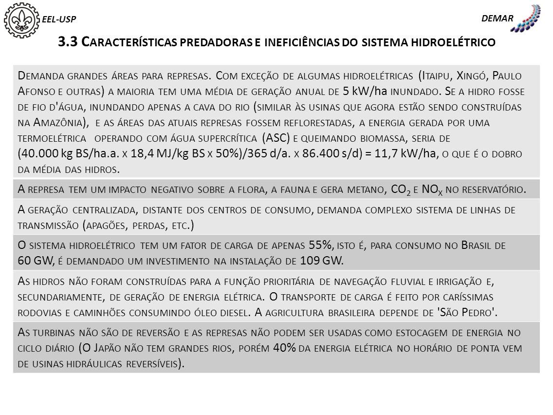 DEMAR EEL-USP. 3.3 Características predadoras e ineficiências do sistema hidroelétrico.