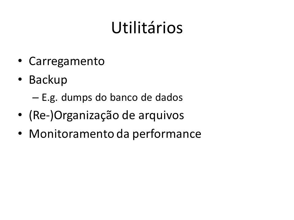 Utilitários Carregamento Backup (Re-)Organização de arquivos