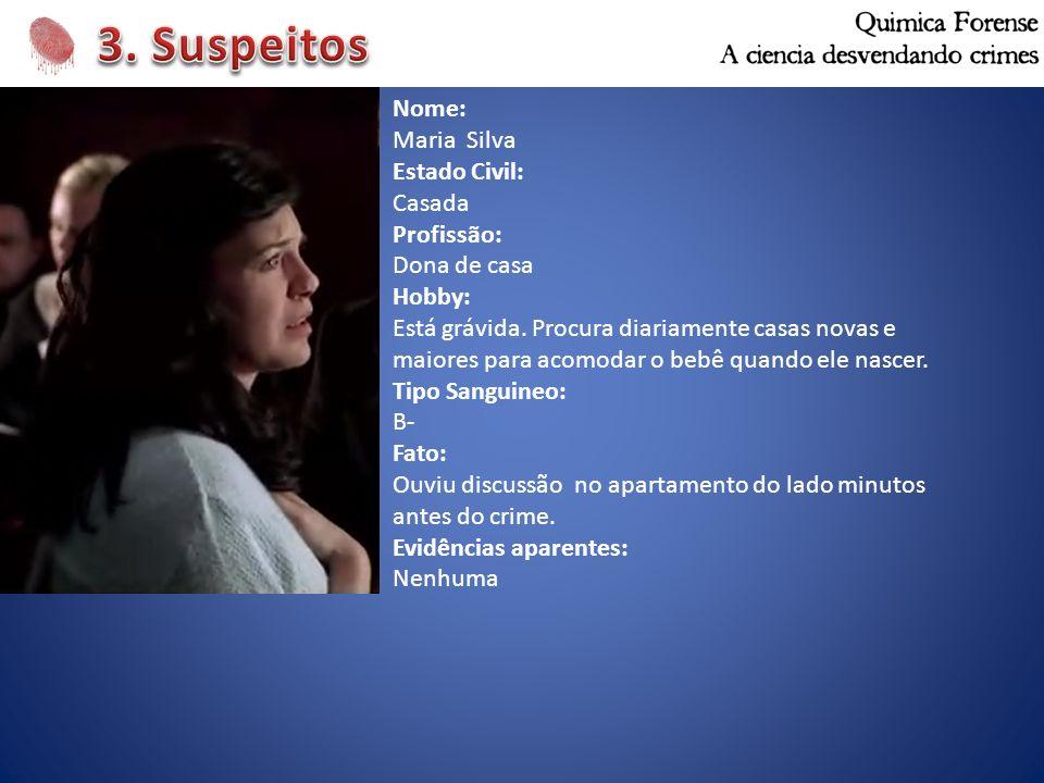 3. Suspeitos Nome: Maria Silva Estado Civil: Casada Profissão: