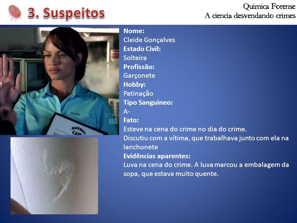 3. Suspeitos Nome: Cleide Gonçalves Estado Civil: Solteira Profissão: