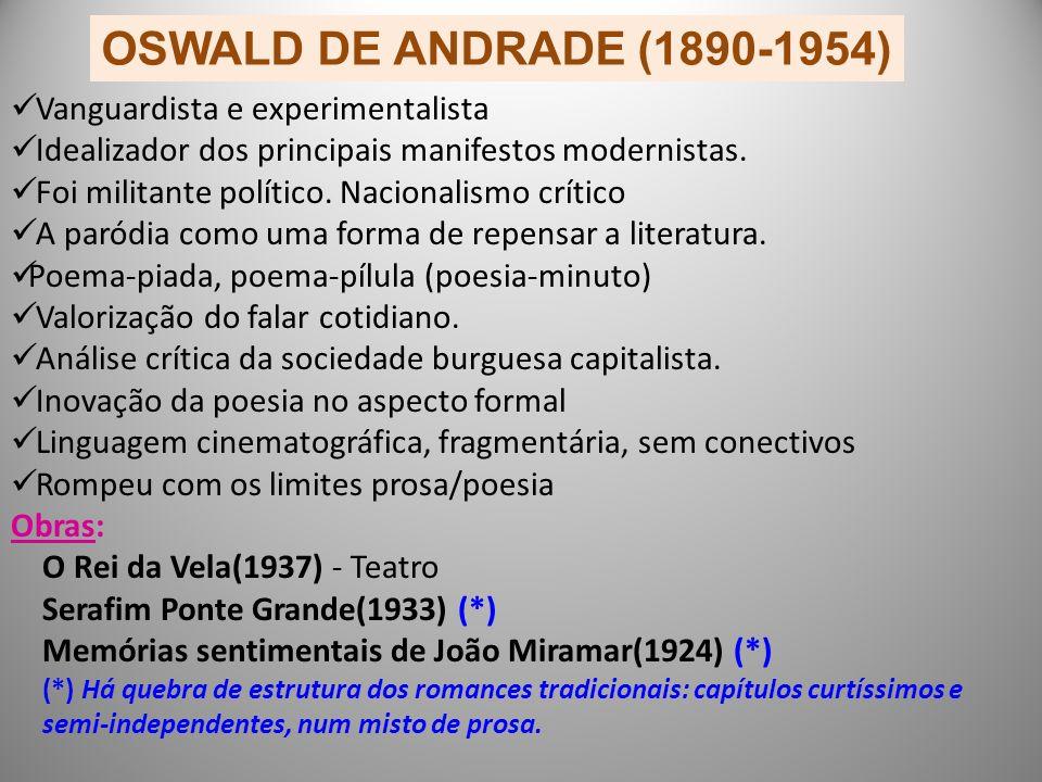 OSWALD DE ANDRADE (1890-1954) Vanguardista e experimentalista